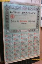 Omnibus & Tramways de Lyon Action de Jouissance au Porteur Siége social Lyon NA