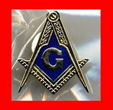 "ONLY1eBAY:BIG 1""GOLD COLOR FREE MASON MASONIC LAPEL PIN TIE TACK,FREEMASON GIFT!"