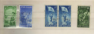 5 LOVELY G/FU NH NEW ZEALAND 1953 & 1958 HEALTH STAMPS SG 719, 720, 764, 765
