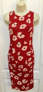 A Pea In The Pod Woman's Maternity Small 4 Red Ivory Black Floral Dress