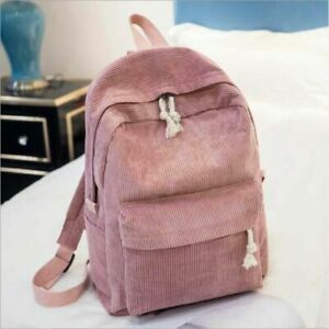 Hot Boho Velvet Corduroy Backpack Women Lady Pure Color Travel School Office Bag