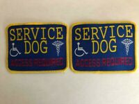 """2- SERVICE DOG Hook&Loop Embroidered Patches 4"""" x 3"""" FREE SHIPPING!"""