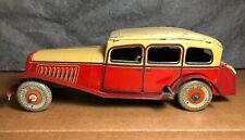 """Rare Vintage Mettoy   1940s   11"""" Tin Large Wind Up Car   Motor works   England"""