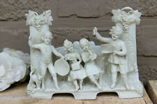 Antique German bisque porcelain group statue planter vase music playing figurine