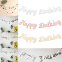 Happy Birthday Glitter Gold Letters Bunting Garland Party Hanging Banner Decors