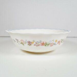 "ARCOPAL France Milk Glass Ditsy Floral Design Scalloped Cereal Soup Bowl - 6"""