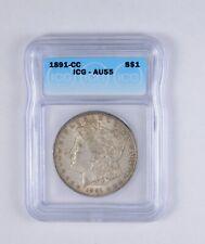 AU55 1891-CC Morgan Silver Dollar - Graded ICG *2104