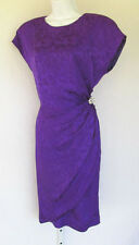 VINTAGE 1980s SILK FLORAL DRESS PURPLE CRYSTALS SIZE 12 LINED GATHERED