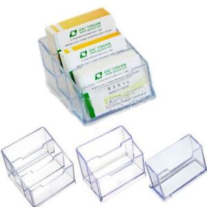 1pc Clear Desktop Business Card Holder Display Stand Plastic Desk Shelf