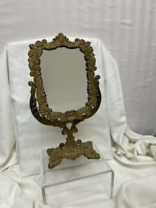 Vintage 1950's Cast Iron Vanity Mirror - Iron Art JM8 - Gold Antiqued