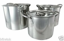 Set of 3 Deep Stainless Steel Stock Pots