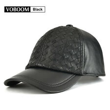 ac06234eb12 100% Genuine Leather Trucker Cap Black Baseball Cap Men Weave Hats Golf  Cabbie