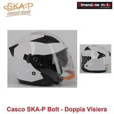 Casco JET Doppia Visiera a Scomparsa SKA-P BOLT Bianco Lucido Taglia L 59/60 cm