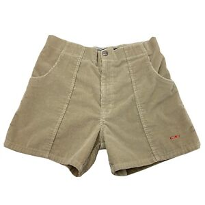 Vintage OP Ocean Pacific Longrider Corduroy Shorts 36 Light Brown Red Surf Skate