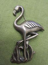 Vintage ART DECO Sterling Silver FLAMINGO Bird Brooch PIN