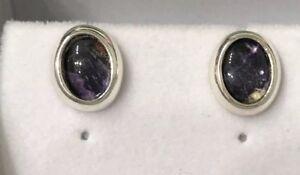 Rare Vintage Style Derbyshire Blue John  Silver Oval Stud Earrings J1639