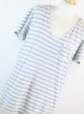 All Saints Blue Striped Cotton Womens T-Shirt Size S (Regular)