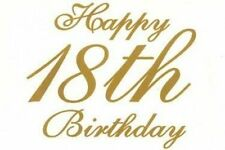 Happy 18th Birthday Gold Text ~ Edible Icing Image Cake Topper for 1/4 sheet