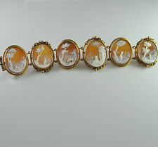 Antique Victorian Post Georgian Cameo Bracelet 14K Gold Scenic Heirloom Unique