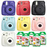 Fuji Instax Mini 8 Fujifilm Instant Film Camera All Colors + 100 Sheets Film