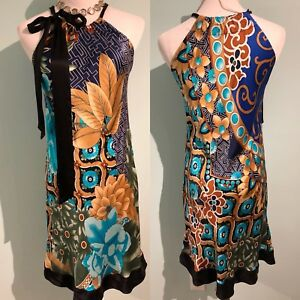 New Eva B. Bitzer lingerie de luxe multicolor floral silk dress size Small