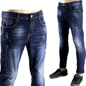 Jeans Blu Scuro Uomo Pantaloni Denim Elasticizzati Morbidi Comodi Toppa Sfumato