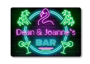 Personalised Bar Sign METAL Plaque Eighties Neon Cocktail Style. Home Pub 80s