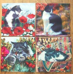 """Cushion Cover Black & White Cat 17""""x17""""(44x44cms) Zipped - 4 Design Choices"""