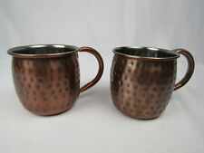 Set of 2 Moscow Mule Cups / Mugs, Pitted Copper Finish, Great Condition