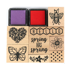 Blooming Lovely Stamp Set + Mini Ink Pads - Dovecraft - Nature/Spring
