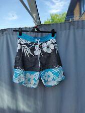 Billabong Black Blue White Floral Print Swimming Beach Shorts Size S VGC