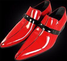 Original Chelsy Italiano Diseñador Mocasines Broche lateral Piel de ternero rojo