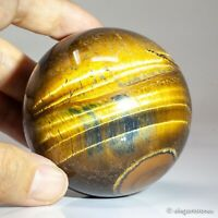 383g 65mm Natural Golden Yellow Tiger Eye Quartz Crystal Sphere Healing Ball