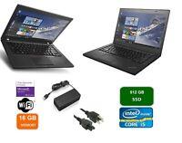 "Lenovo ThinkPad T460 14"" Core i5-6200U 2.30GHz 16GB 512GB SSD Win10 Pro WEBCAM"