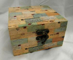 BEAUTIFUL VINTAGE SHABBY CHIC LOOK TRINKET / JEWELLERY BOX POST CARD DESIGN