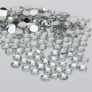 1000 High Quality Crystal Clear Flat back Rhinestone Diamante Gems 3 4 5 6mm