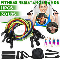 11Pcs Resistance Bands Workout Exercise Yoga Gym Fitness Training Tubes 30lbs