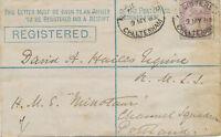 "2422 1885 QV 2D CHELTENHAM addressed to H.M.S. ""MINOTAUR"" Channel Fleet Flagship"