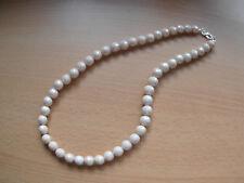 Halskette  Perlenhalskette facettierte Cremfarbige 10mm Perlen 50cm lang