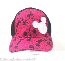 DISNEY PARKS BLACK AND PINK YOUTH MICKEY MOUSE GRAPHIC BASEBALL CAP HAT STONES