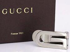 Auth GUCCI Logos Money Clip Accessory Silver-tone Italy 18564040