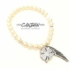 Genuine Swarovski Cream Pearl Bracelet With Rhinestone Clover With Angel Wings