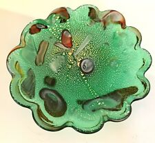 Murano Glass Bowl, AVeM, Tutti-Fruiti, Green, Scalloped Edge, Aventurine, 1960s