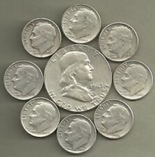 New listing Franklin Half Dollar & Roosevelt Dimes- 90%  00003C34 Silver- Us Coin Lot- 9 Coins #3929