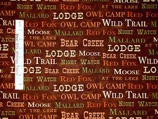 Camp Logde Fabric - Words Trail Bear Fox Lodge Windham #39318-3 Brown  - Yard