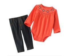 Carters baby girls 2 Piece Set Bodysuit Pants Jeggings Leggings NWT Newborn NB