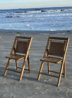 2 Vintage Mid Century Modern Folding Slatted Wood Chairs Wedding MCM Company