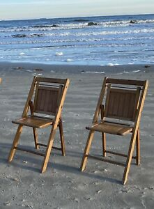 2 Vintage Mid Century Modern Folding Slatted Wood Chairs Wedding MCM Farmhouse