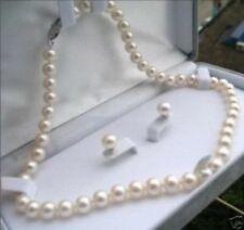 Charming Natural 8-9mm White Akoya Pearl Necklace 18''+Earrings Set