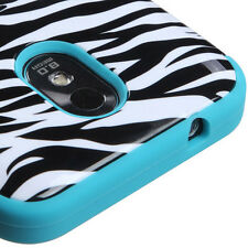 Samsung Galaxy S2 4G Sprint Boost D710 Armor Hybrid Case Cover White Zebra Teal